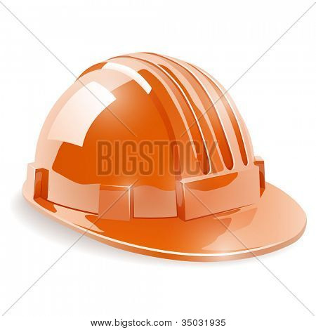 Construction safety helmet isolated on white background vector illustration.