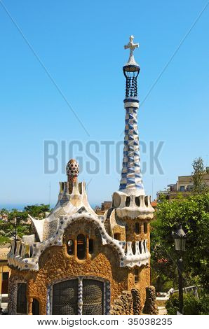 BARCELONA, SPAIN - JUNE 6: Park Guell on June 6, 2010 in Barcelona, Spain. The famous park was built between 1900 and 1914 and is part of the UNESCO World Heritage Site Works of Antoni Gaudi