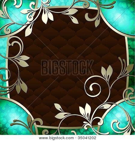 Elegant vintage rococo frame in dark green