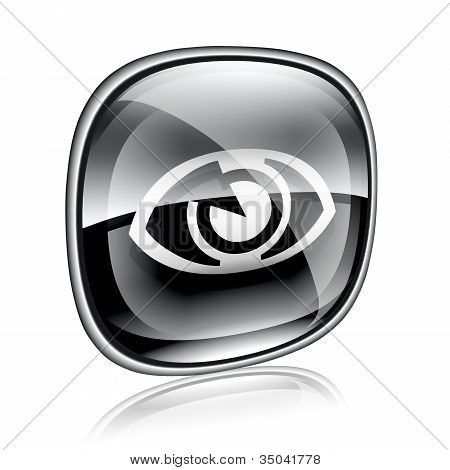 Eye Icon Black Glass On White Background.