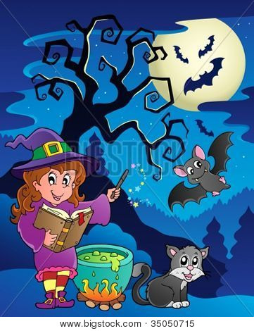 Scene with Halloween theme 9 - vector illustration.