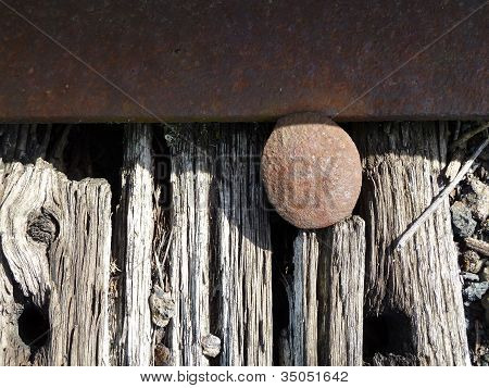 railroad tie, rail and spike