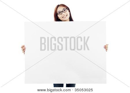 Asian Woman Showing Empty Banner