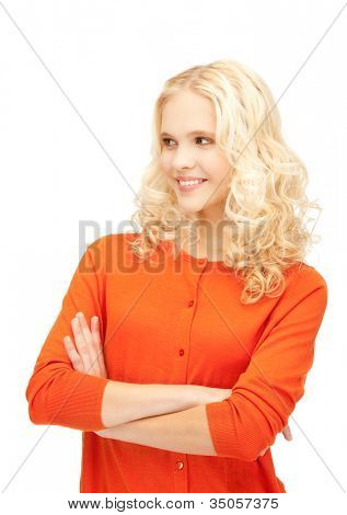 bright studio picture of beautiful pensive teenage girl