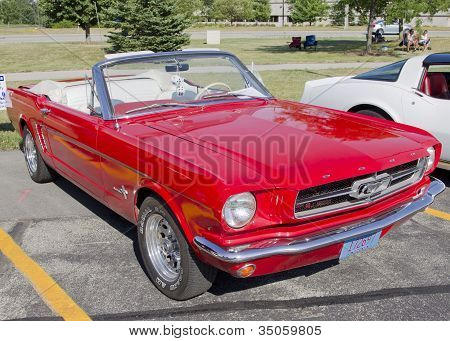 Red Ford Mustang Convertible