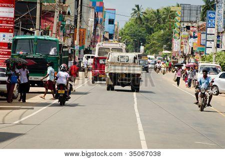 Intensive Traffic On Narrow Asian Street