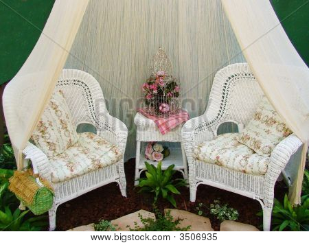 Chairs For Two In The Gardenintimate Garden Setting With