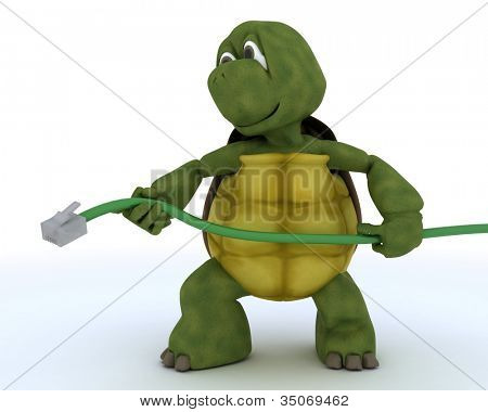 3D render of a tortoise with RJ1 cable
