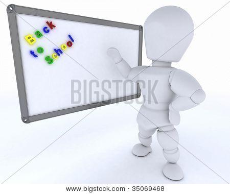 3D Render eines Mannes mit weißen Klasse Zimmer Drywipe Markierungsschild
