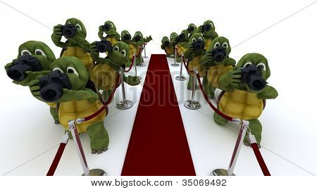 3D render of Tortoise paparazzi at the red carpet