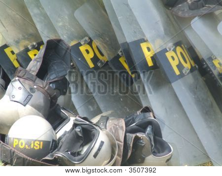 Indonesian Police Riot Shields And Helmets, Jakarta