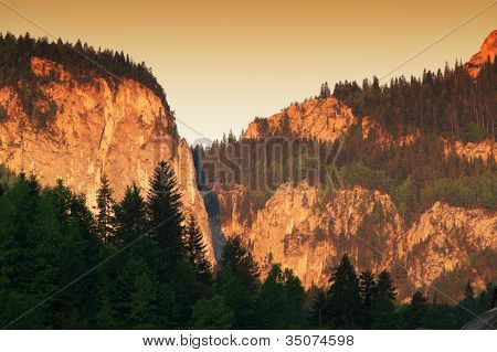 Sunsrise alpine landscape in Bicaz Pass, Romania, Europe