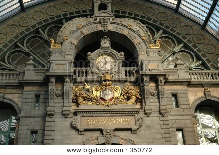 Clock In Antwerp, Belgium Train Station