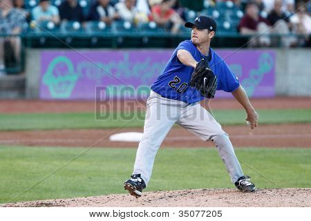 CENTRAL ISLIP-JULY 21: Sugar Land Skeeters pitcher Scott Kazmir (20) pitches against the Long Island Ducks on July 21, 2012 at Bethpage Park in Central Islip, New York.