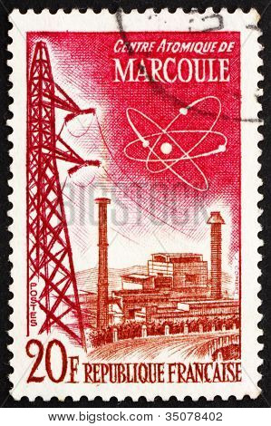 Postage stamp France 1959 Marcoule Atomic Center
