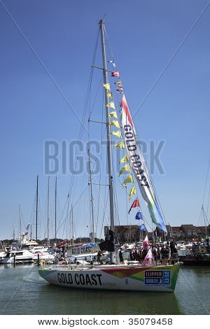 OCEAN VILLAGE, SOUTHAMPTON UK - JULY 22: Clipper Round the World Yacht Race winner 'Gold Coast' arrives in Southampton.