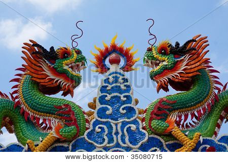 Twin Dragon Statues In Chinese Style