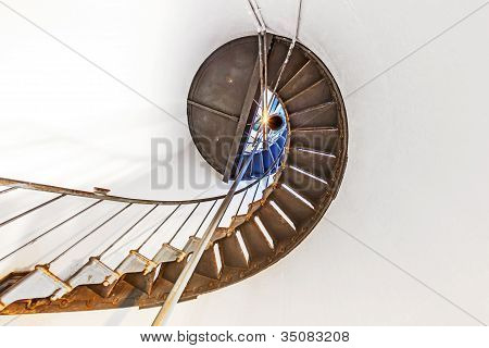 Historic Staircase Inside Point Arena Lighthouse In California