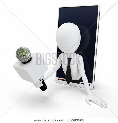 3D Man Online Interview Concept