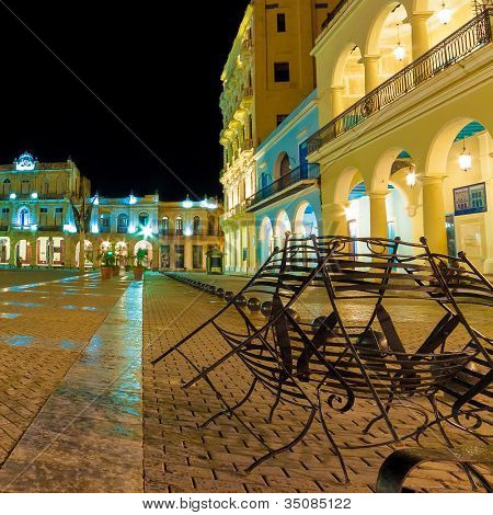 The famous Plaza Vieja Square in Old Havana illuminated at night