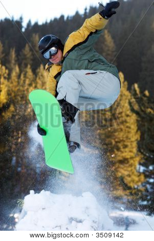 Jump With Springboard In Forest