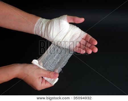 White medicine bandage on human injury hand