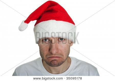 Christmas holiday displeased Santa Claus sadness