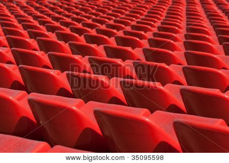 Empty soccer sport stadium bleacher seat chair row