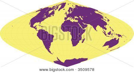 World Map Sinusoidal Projection