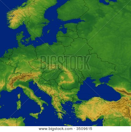 Europe Map With Terrain