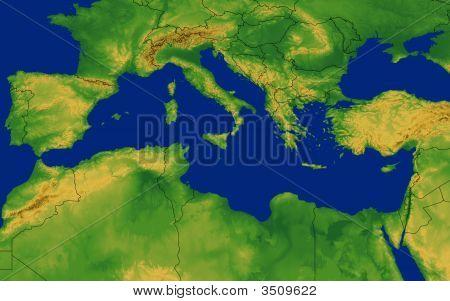 Mediterranean Region Map With Terrain