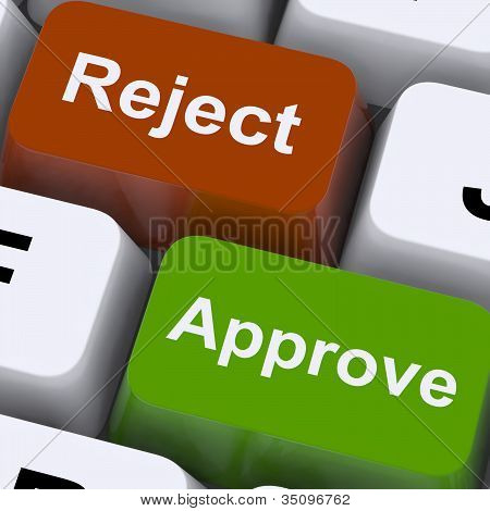 Approve Reject Computer Keys Showing Accept Or Decline