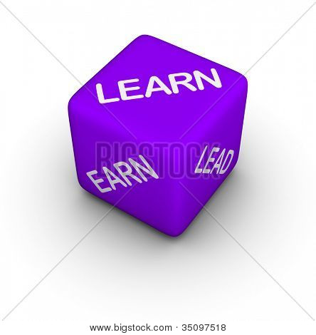 learn, earn, lead - 3d dice
