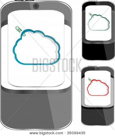 Smart Phone Sets Mobile Handsets With Abstract Cloud On Screen