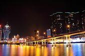 Macao cityscape with famous landmark of casino skyscraper and bridge poster