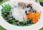 Many Bottles Of Soft Drinks In White Bowl