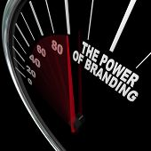 stock photo of feeling better  - The power of branding measured by a speedometer representing the high level of loyalty a customer feels toward a company - JPG