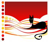 stock photo of black cat  - Stylized black cat on a red striped background - JPG