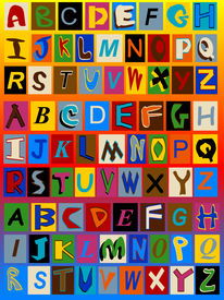 stock photo of alphabet letters  - This background includes 3 sets of alphabet letters - JPG