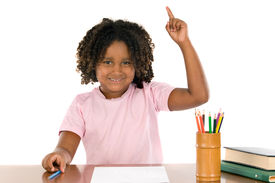 stock photo of hands up  - african student girl with his hand raised up - JPG