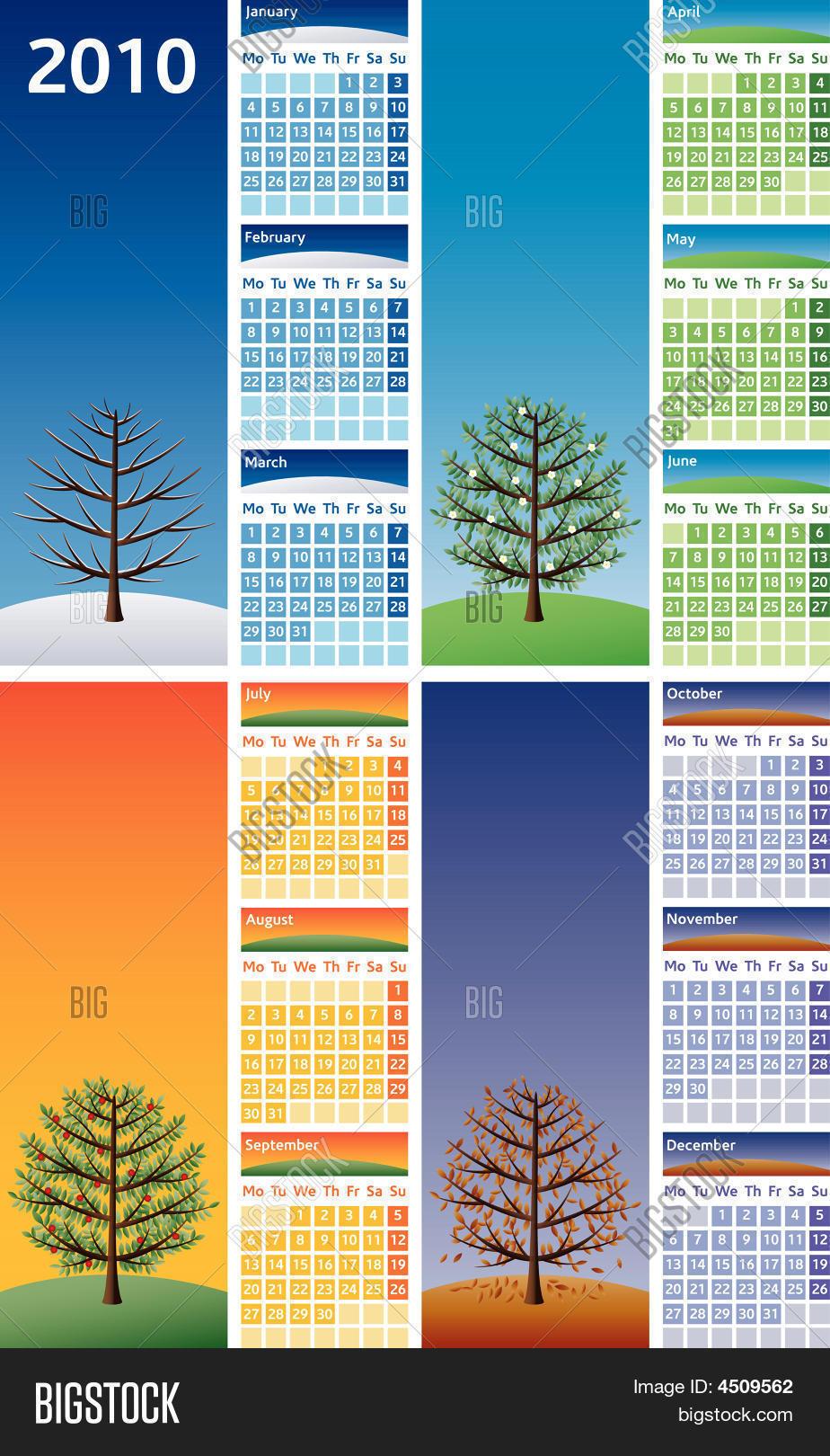 Year Calendar Seasons : Calendar four seasons vector photo bigstock