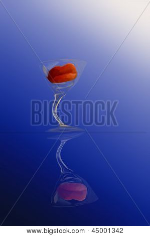 Abstract Of Red Lips In A Wine Glass