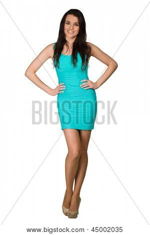 Glamour girl in blue dress on white