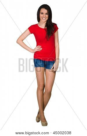 Fashion model wearing red T-shirt