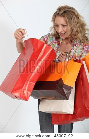 Woman delighted with purchases