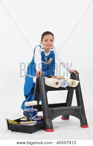 Girl with upholstery tools