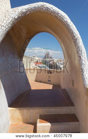 View Of Sagrada Familia From Casa Mila (barcelona)