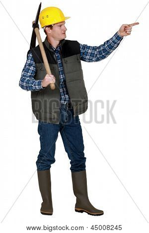 Laborer with pickaxe