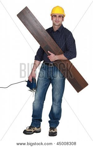 Carpenter with electric saw