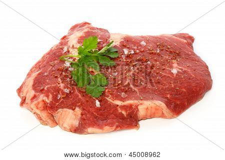 Raw Matured Rib Eye With Spices And Coriander